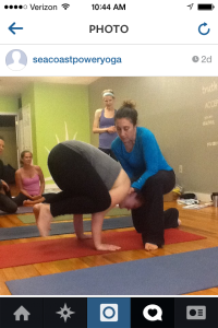 Annie Q assisting me in Crow pose